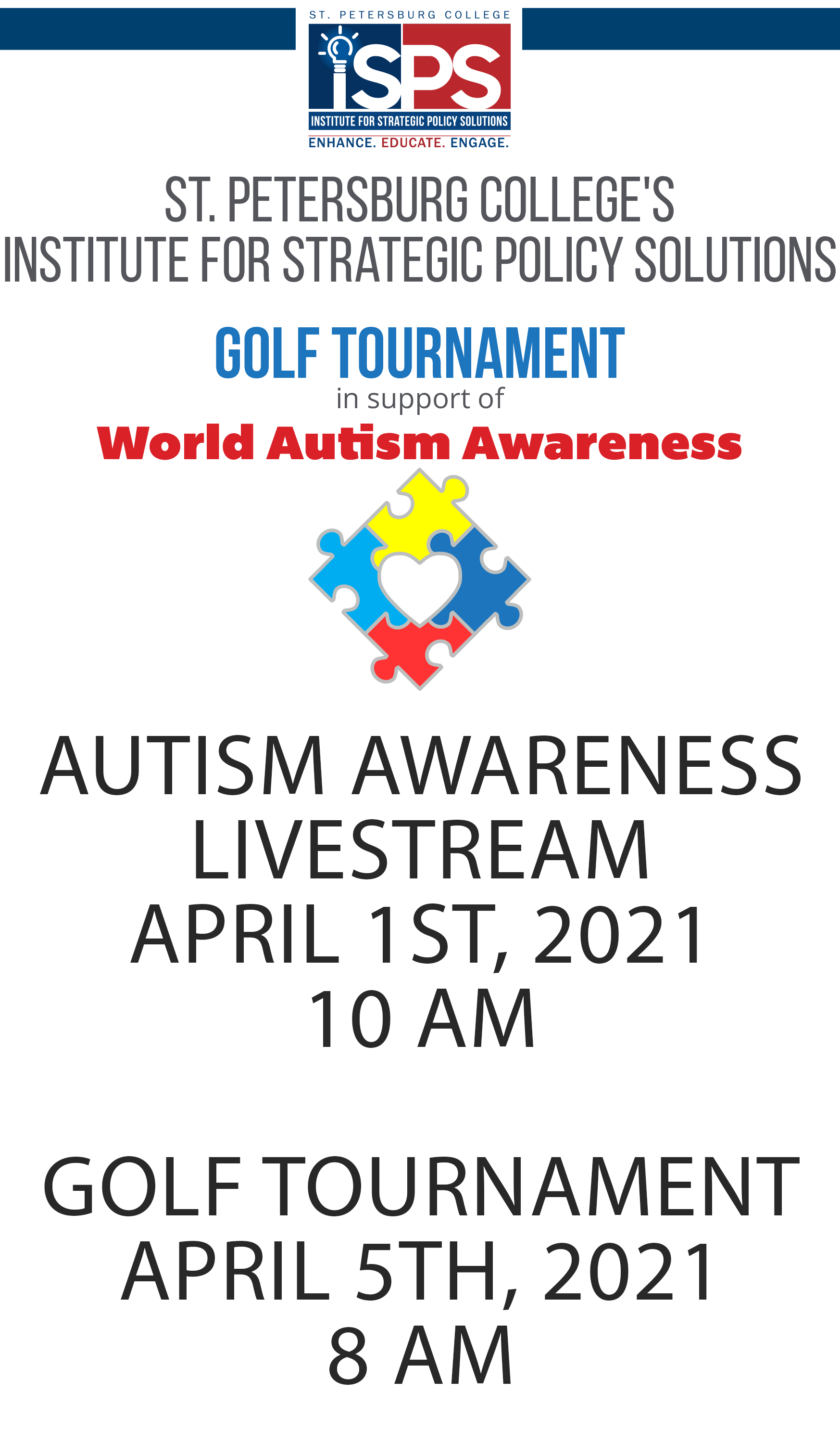 st. petersburg college's Institute for strategic Policy Solutions Golf Tournament in support of World Autism Awareness